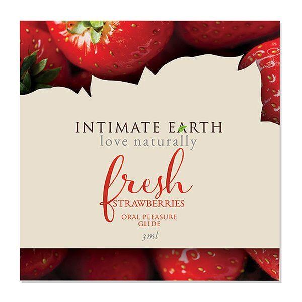 Λιπαντικό Glider Στοματικής Απόλαυσης Fresh Strawberries Φύλλο 3 ml Intimate Earth 6561