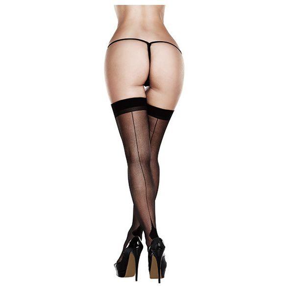 Διαφανές Καλσόν Πάνω από το Γόνατο Cuban Heel Baci Lingerie - Queen Size