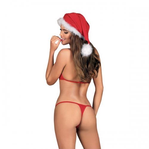 Σετ Εσωρούχων με Δαντέλα Christmas Santastic Obsessive (2 pcs) - Κόκκινο